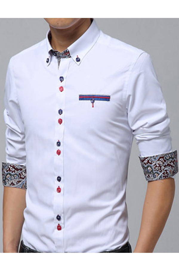 Oem 7719 Mens Shirts Long Sleeve Print Cuff Color Button