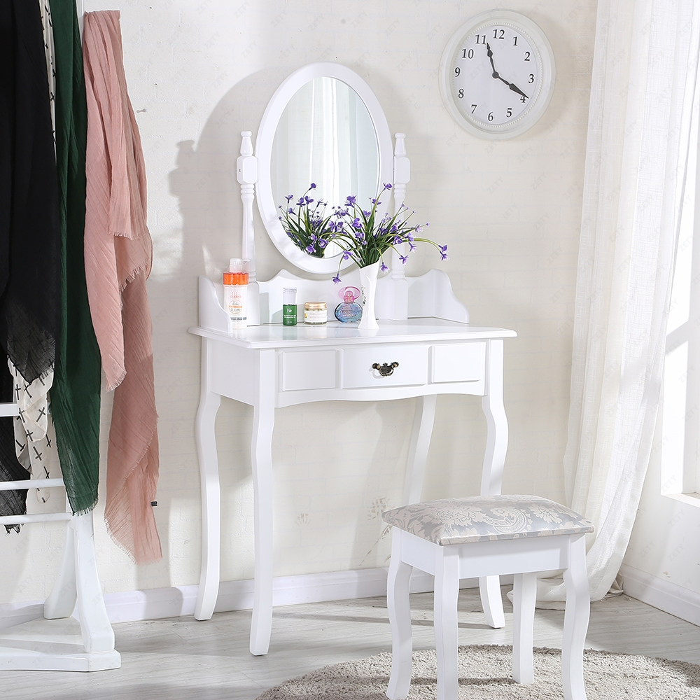 White dressing table makeup desk with stool and round for White makeup table