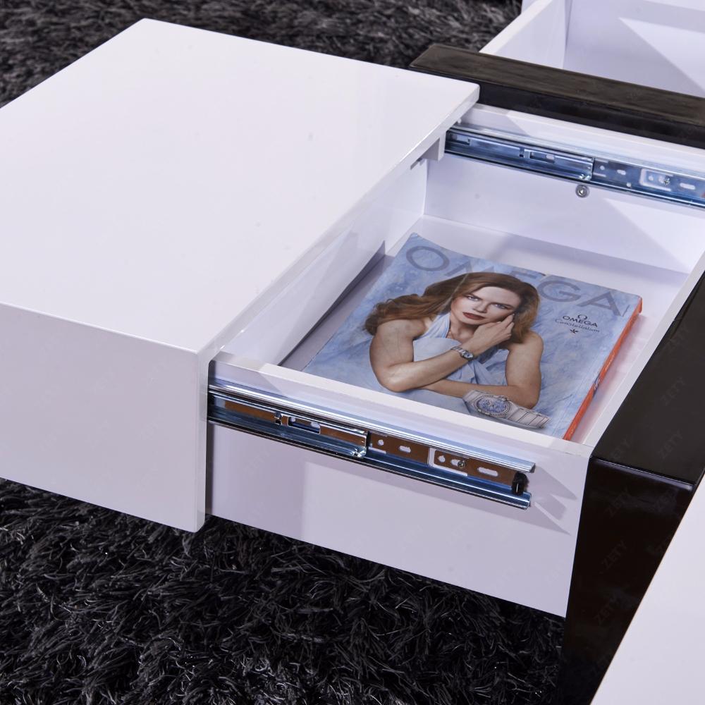 Modern Designer High Gloss White Coffee Table 4 Hidden