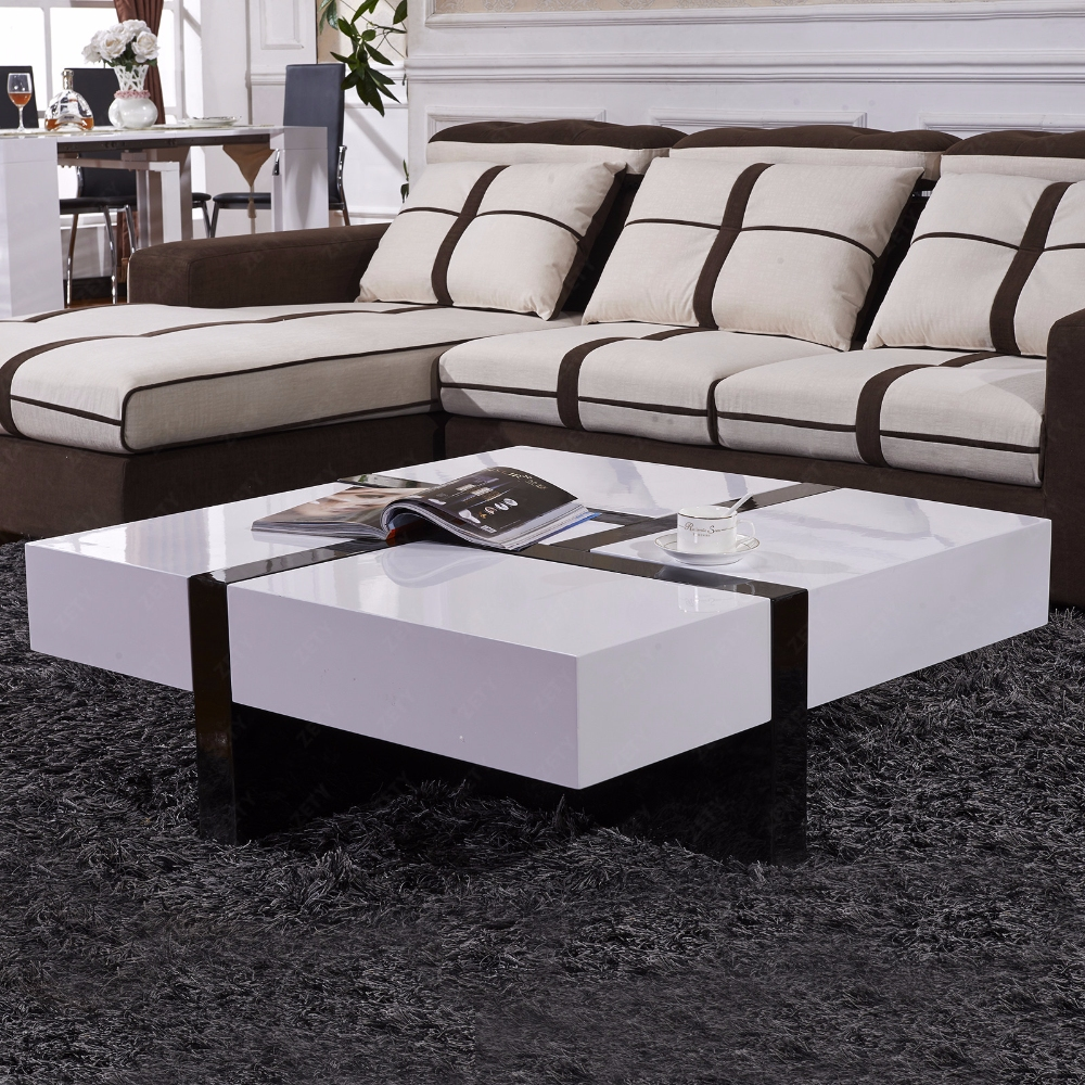 Contemporary Coffee Table In White High Gloss 8738: Modern Designer High Gloss White Coffee Table 4 Hidden
