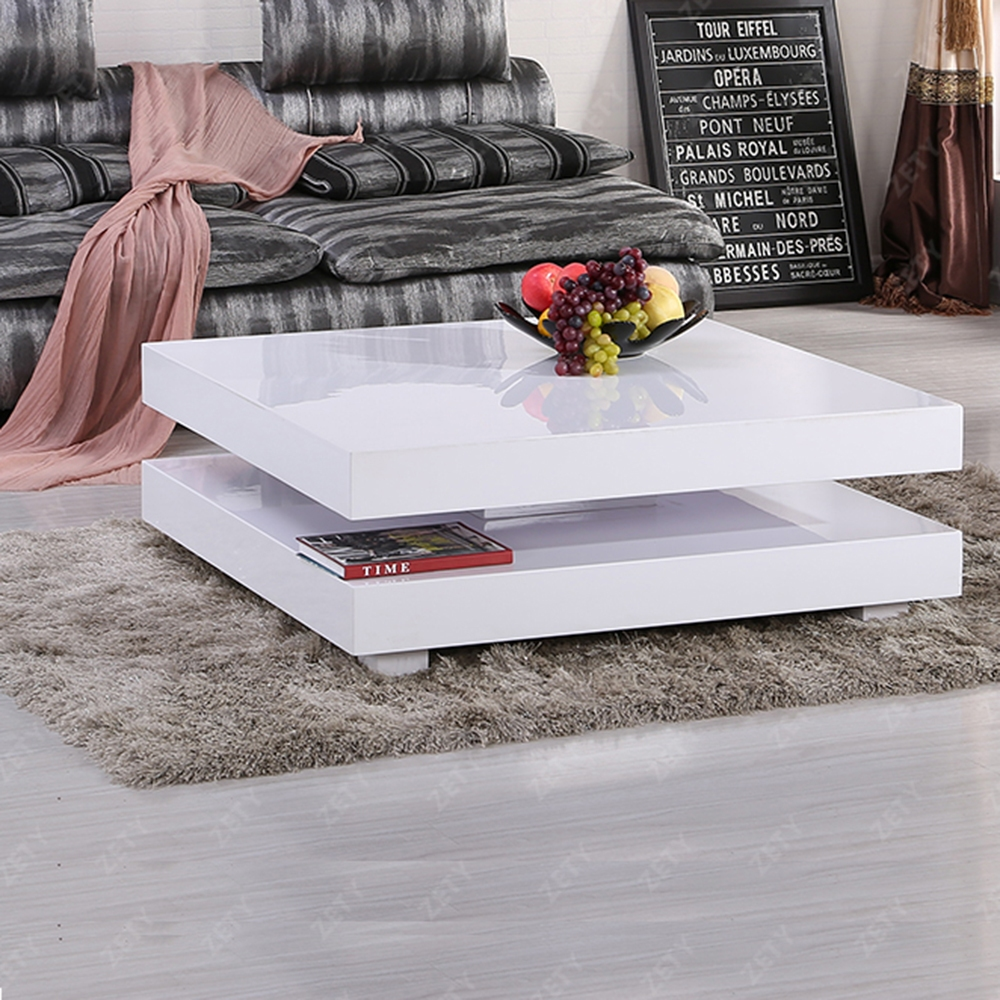 Coffee Table Layers White High Gloss Amazon Co Uk Kitchen: MODERN HIGH GLOSS WHITE SQUARE COFFEE TABLE WITH 2 LAYERS
