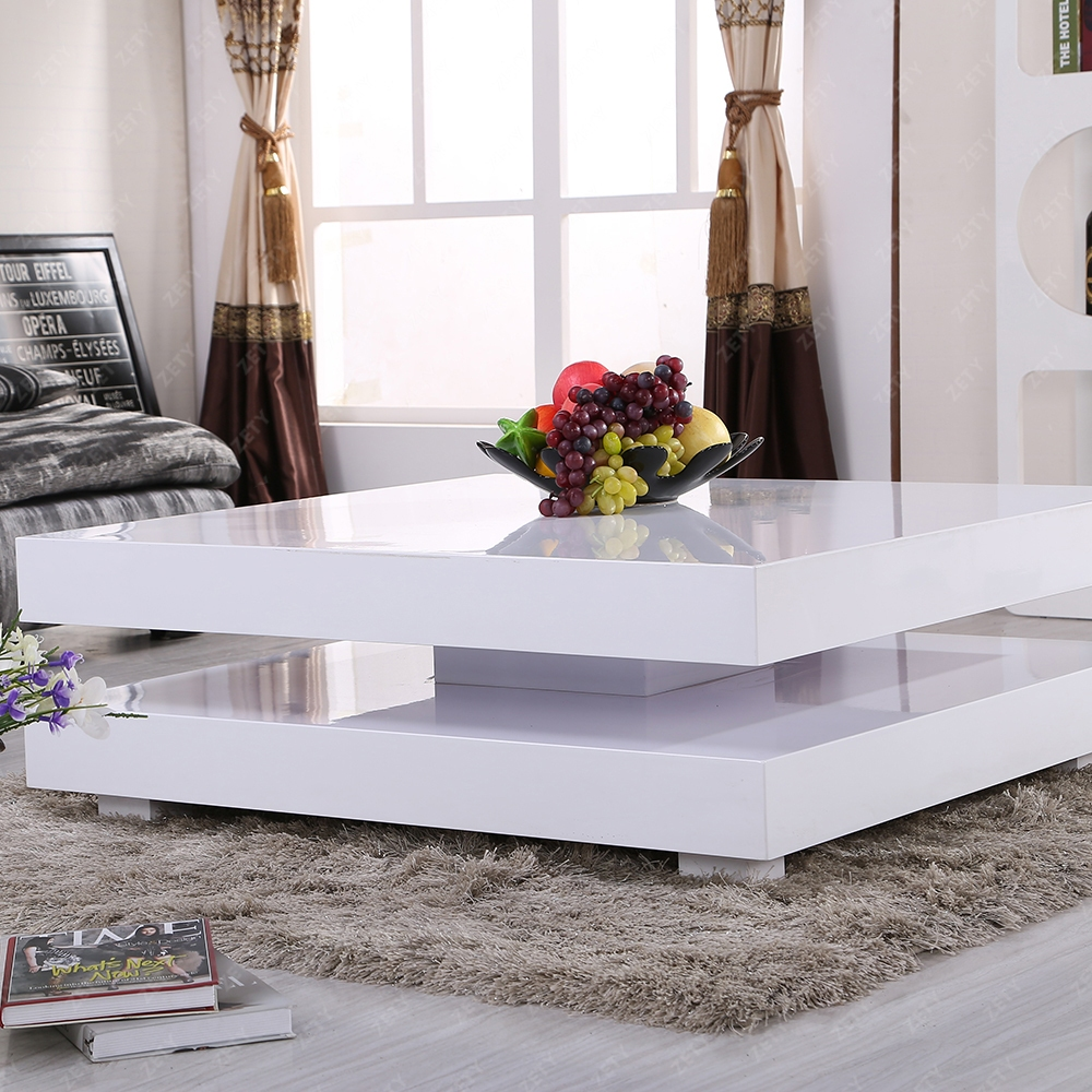 New Modern High Gloss White Square Coffee Table With 2