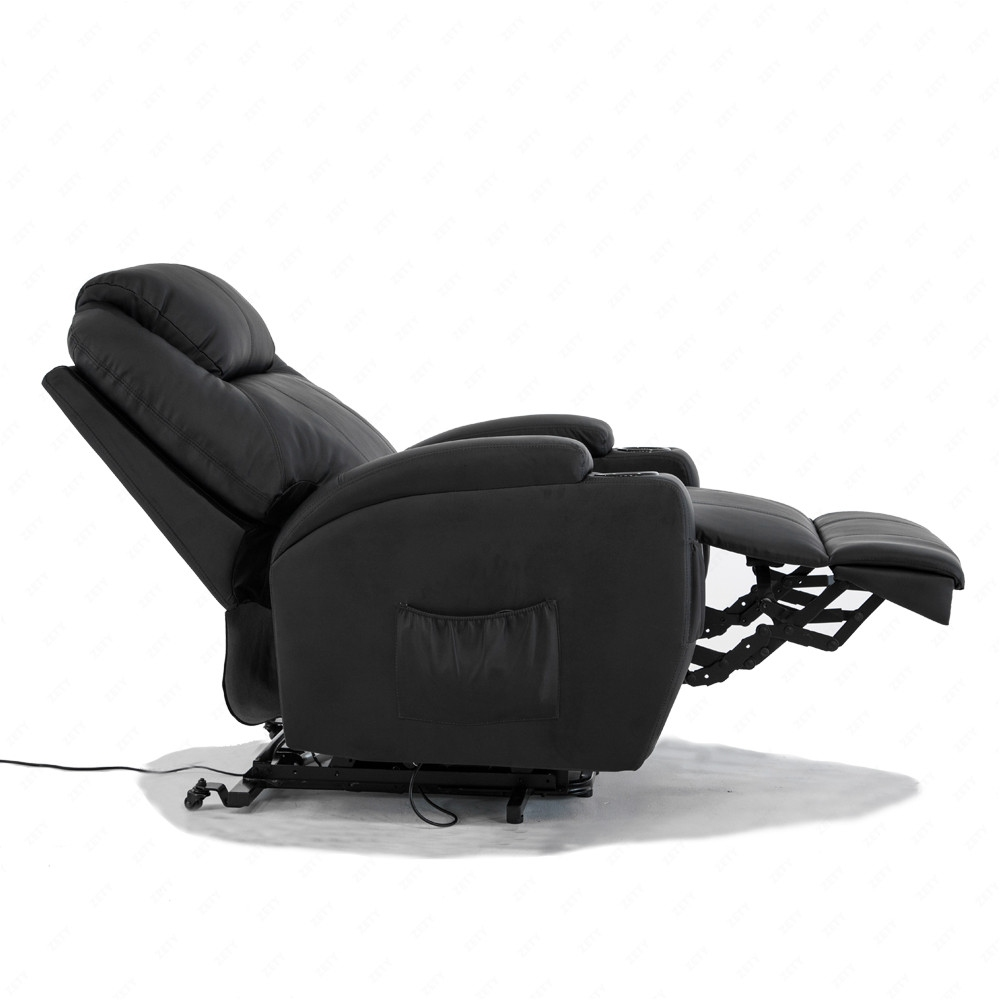 BN Bonded Leather Padded Electric Rise Cup Holder Recliner Armchair Sofa Blac