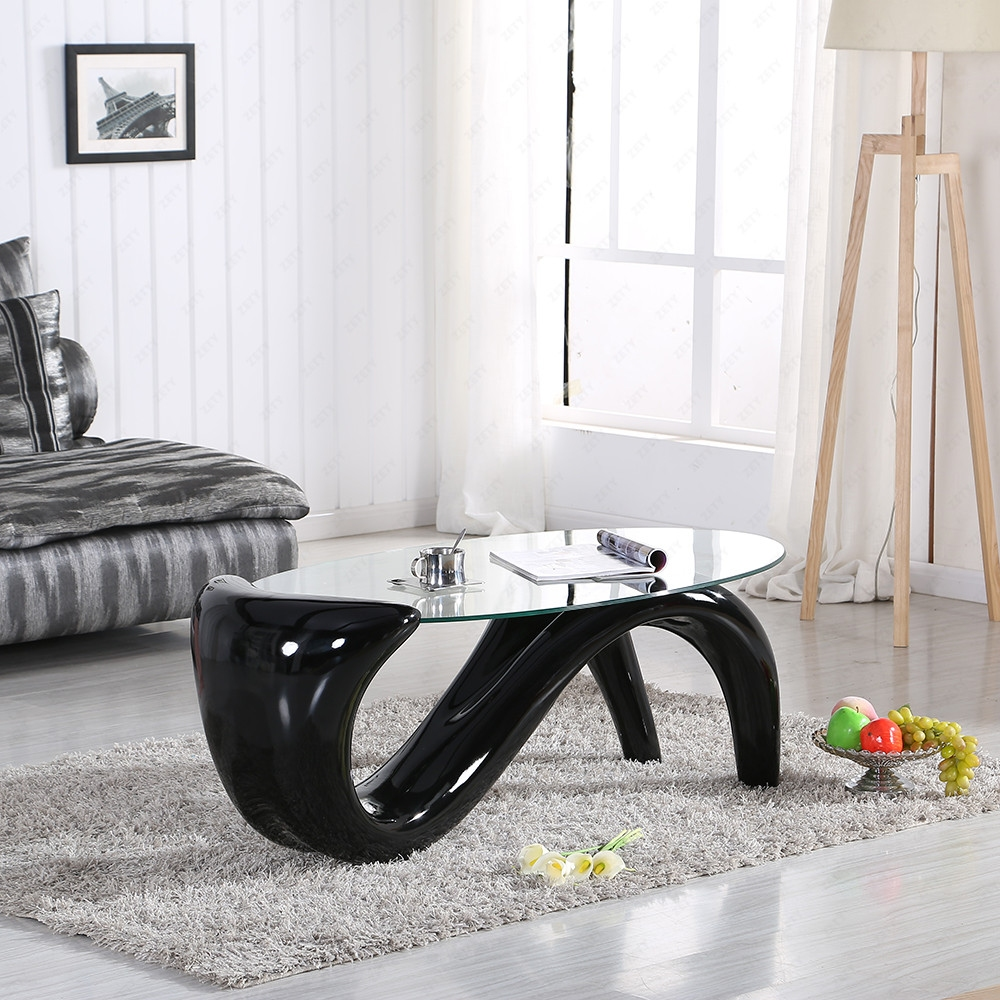 Bn black clear glass s wave mermaid coffee table modern designer ebay Mermaid coffee table