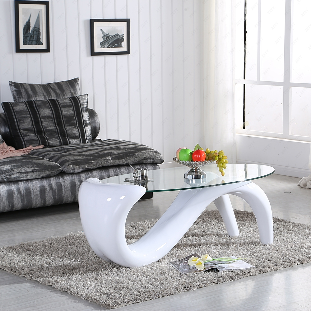 Modern Designer Clear Black White Red Glass S Wave Mermaid Coffee Table Ebay