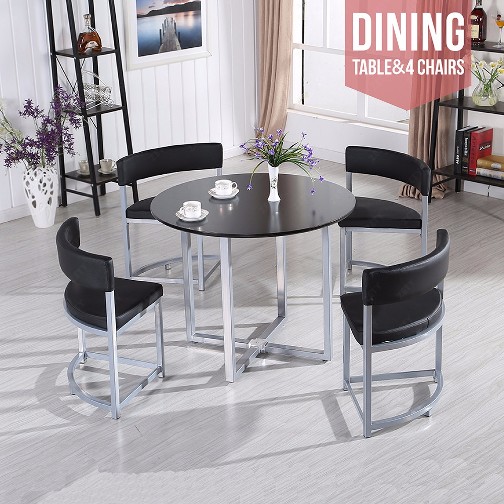 Black Coffee Table & Chairs With Silver Grey Chrome Legs