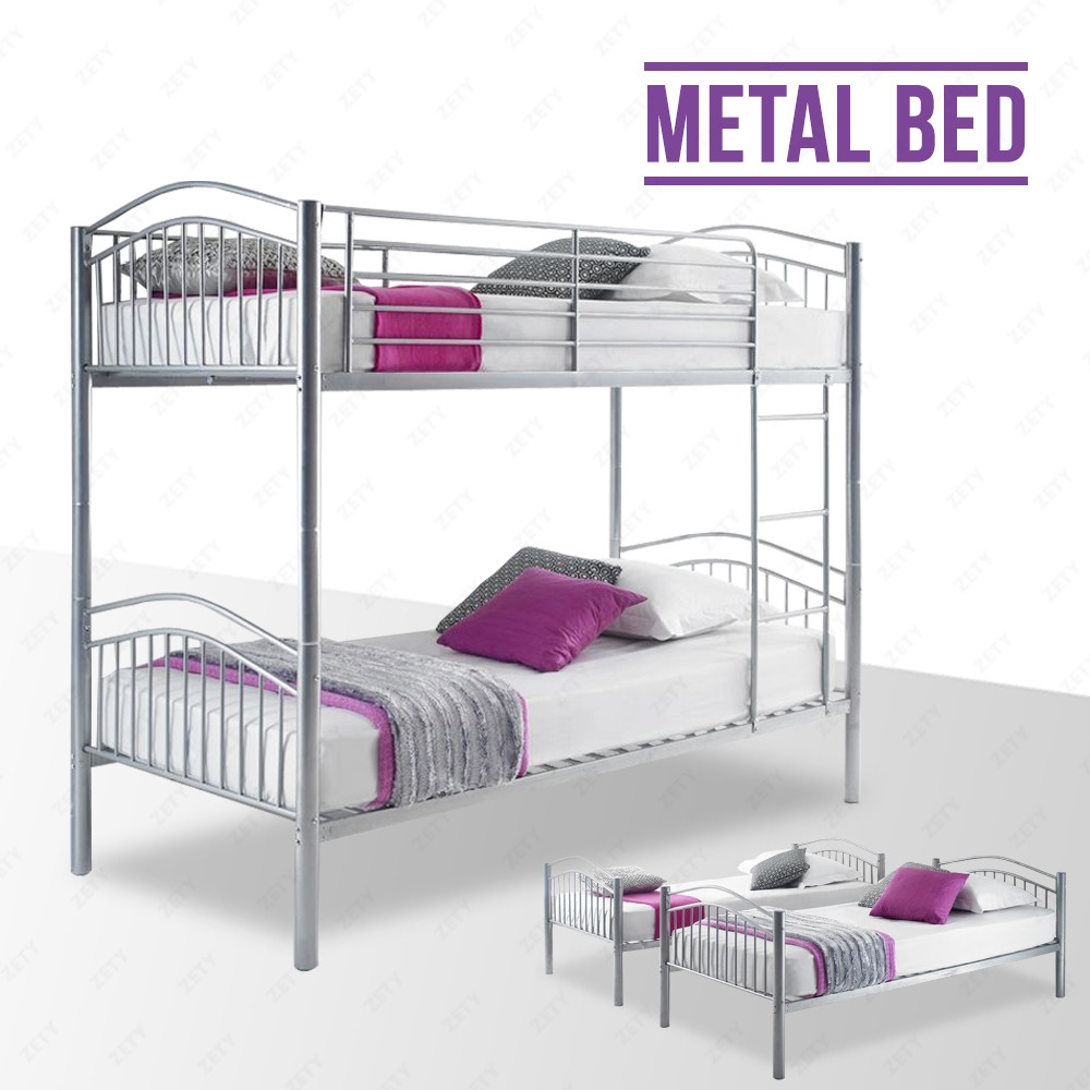 Silver metal bunk bed frame 2 person 3ft single for adult for Single bunk bed