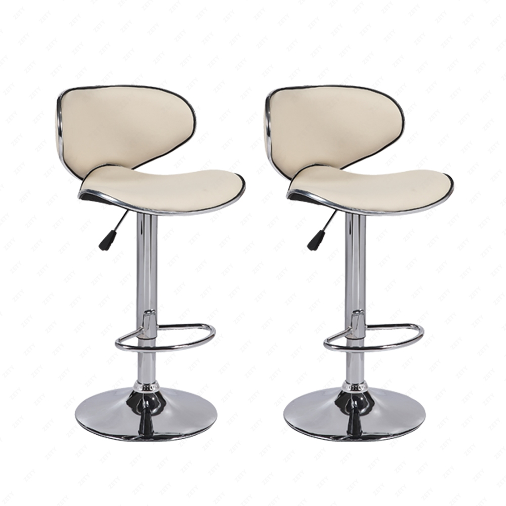Set Of 2 Adjustable Bar Stools Pu Leather Hydraulic Swivel