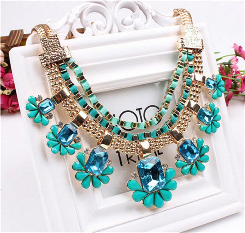 Charm-Women-Fashion-Pendant-Statement-Crystal-Bib-Choker-Chain-Necklace-Jewelry