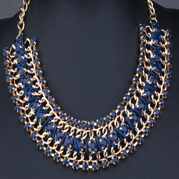 Chic Women Pendant Chain Crystal Rhinestone Choker Chunky Statement Bib Necklace