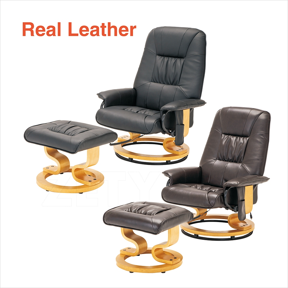 leather massage recliner chair swivel armchair with foot stool black