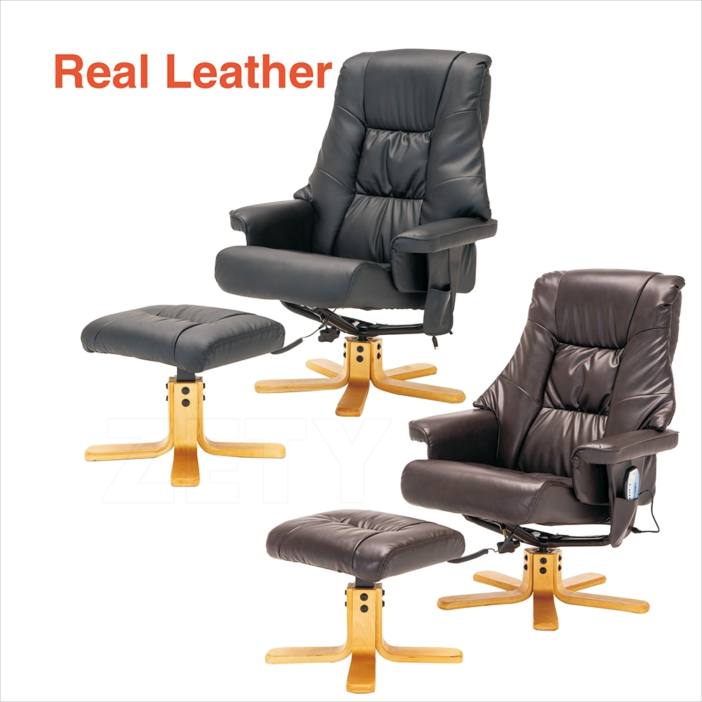 Massage recliner black brown chair leather with foot stool swivel armchair ebay - Swivel feet for chairs ...