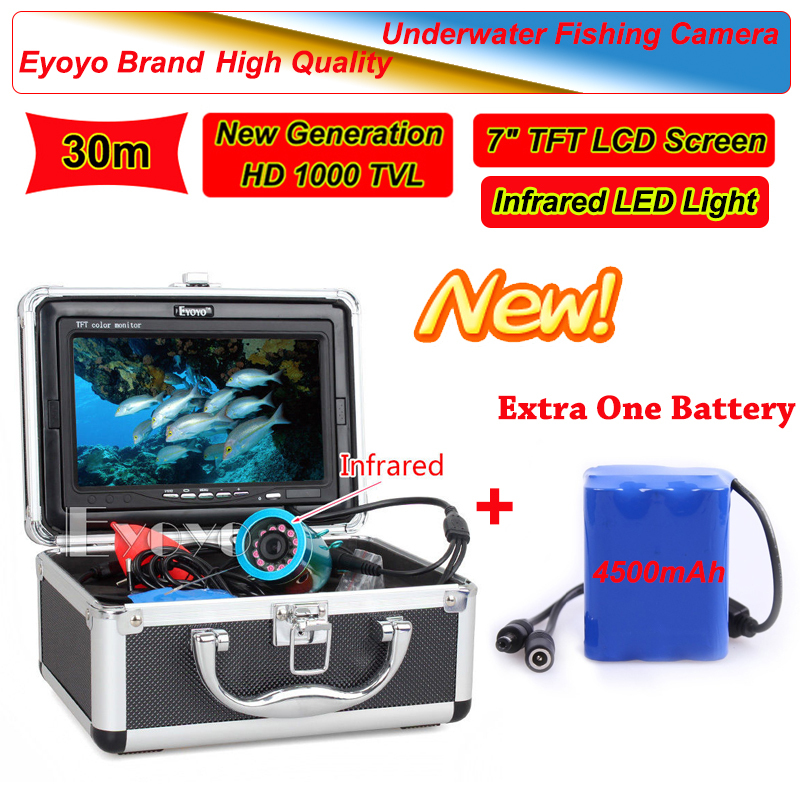 Eyoyo 30m infrared light 7 lcd ice sea fish finder for Fish finder battery