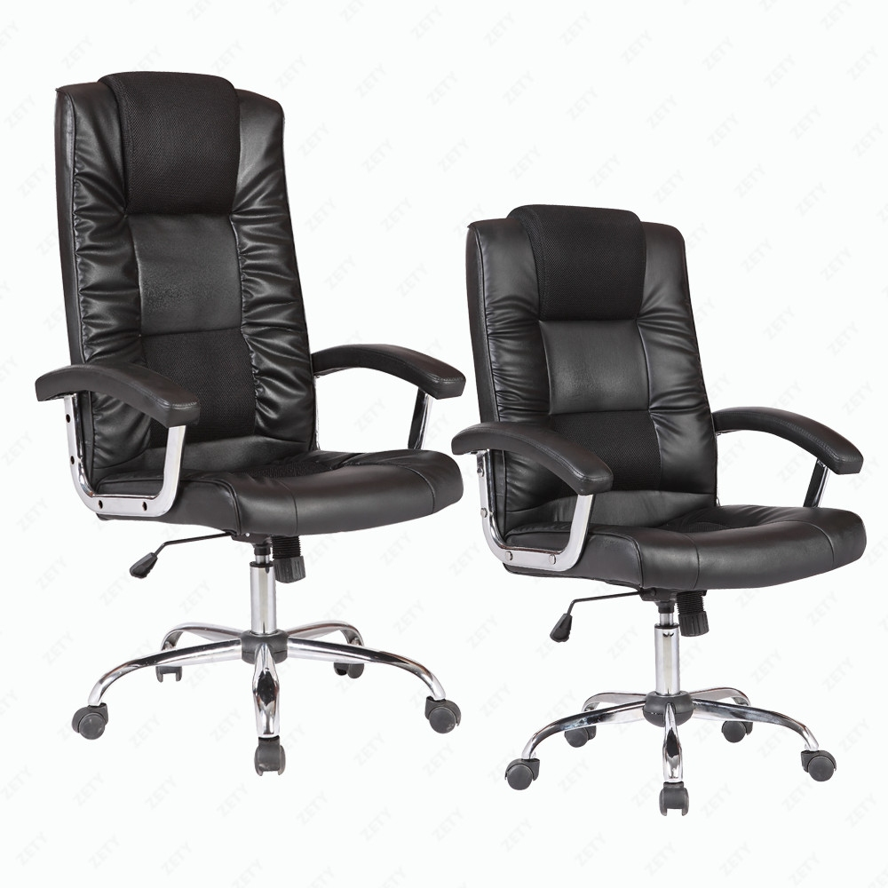 High Back Swivel Office Chair Executive PU Leather Computer Desk Task Black