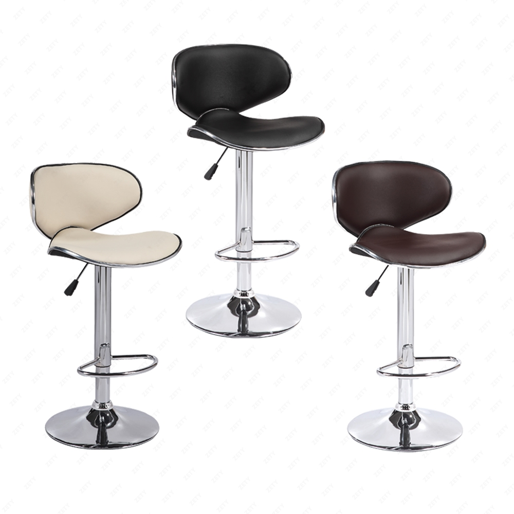 3 Bar Stools High Seat Chairs Adjustable Swivel Counter: Set Of 2 Adjustable Bar Stools Leather Hydraulic Swivel