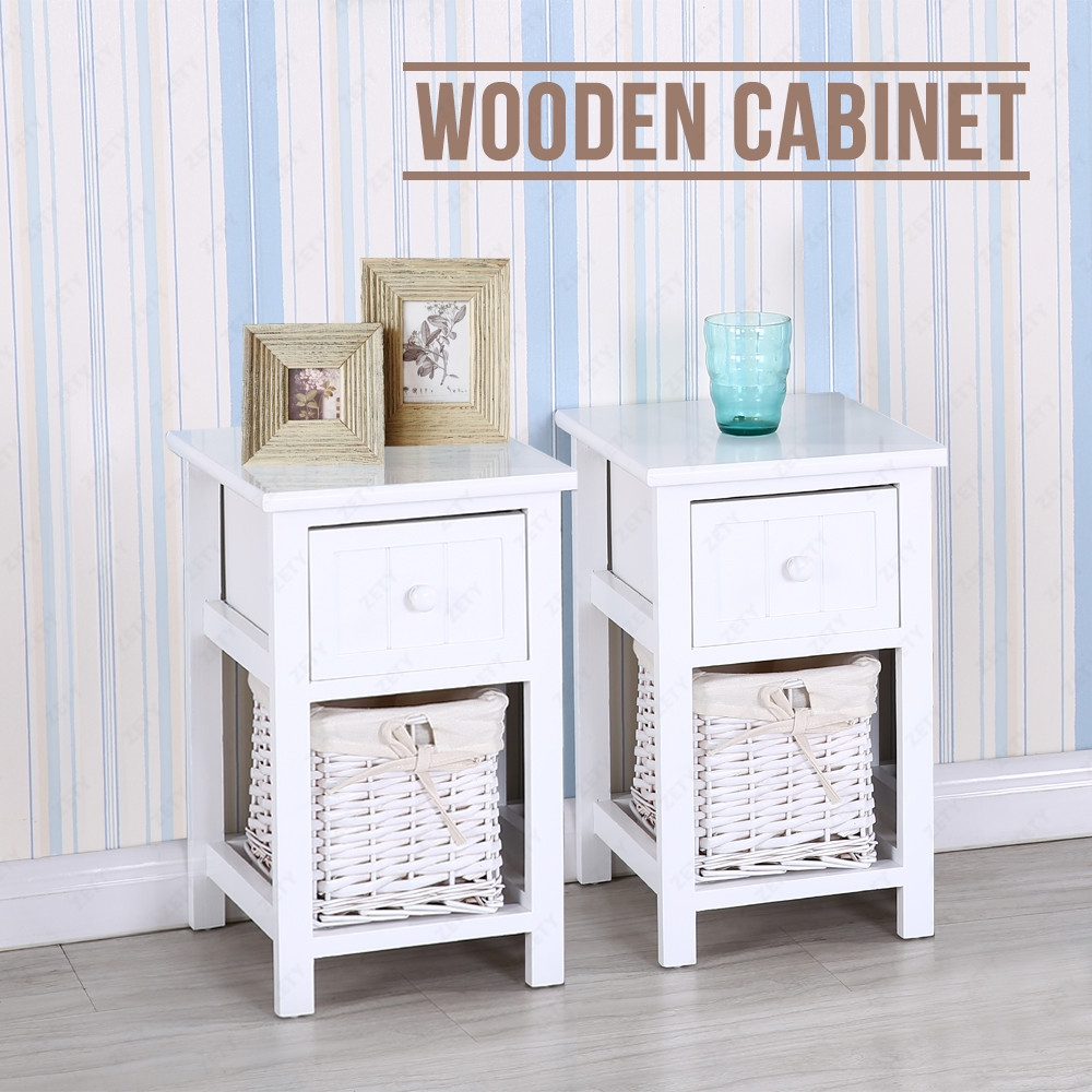 pair of wooden shabby chic bedside tables cabinet w storage wicker baskets ebay. Black Bedroom Furniture Sets. Home Design Ideas