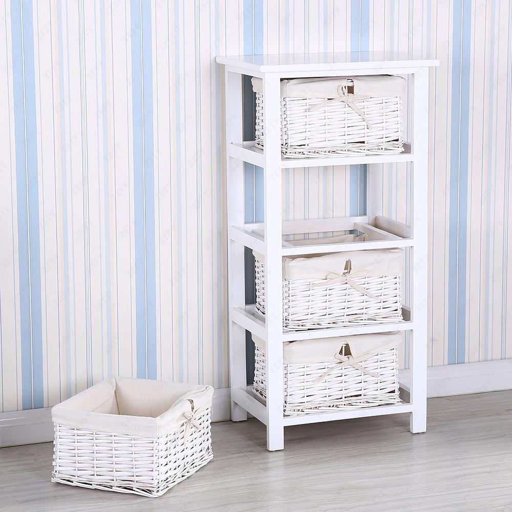 new vanity storage 4 drawer wooden wicker baskets white cabinet furniture ebay. Black Bedroom Furniture Sets. Home Design Ideas