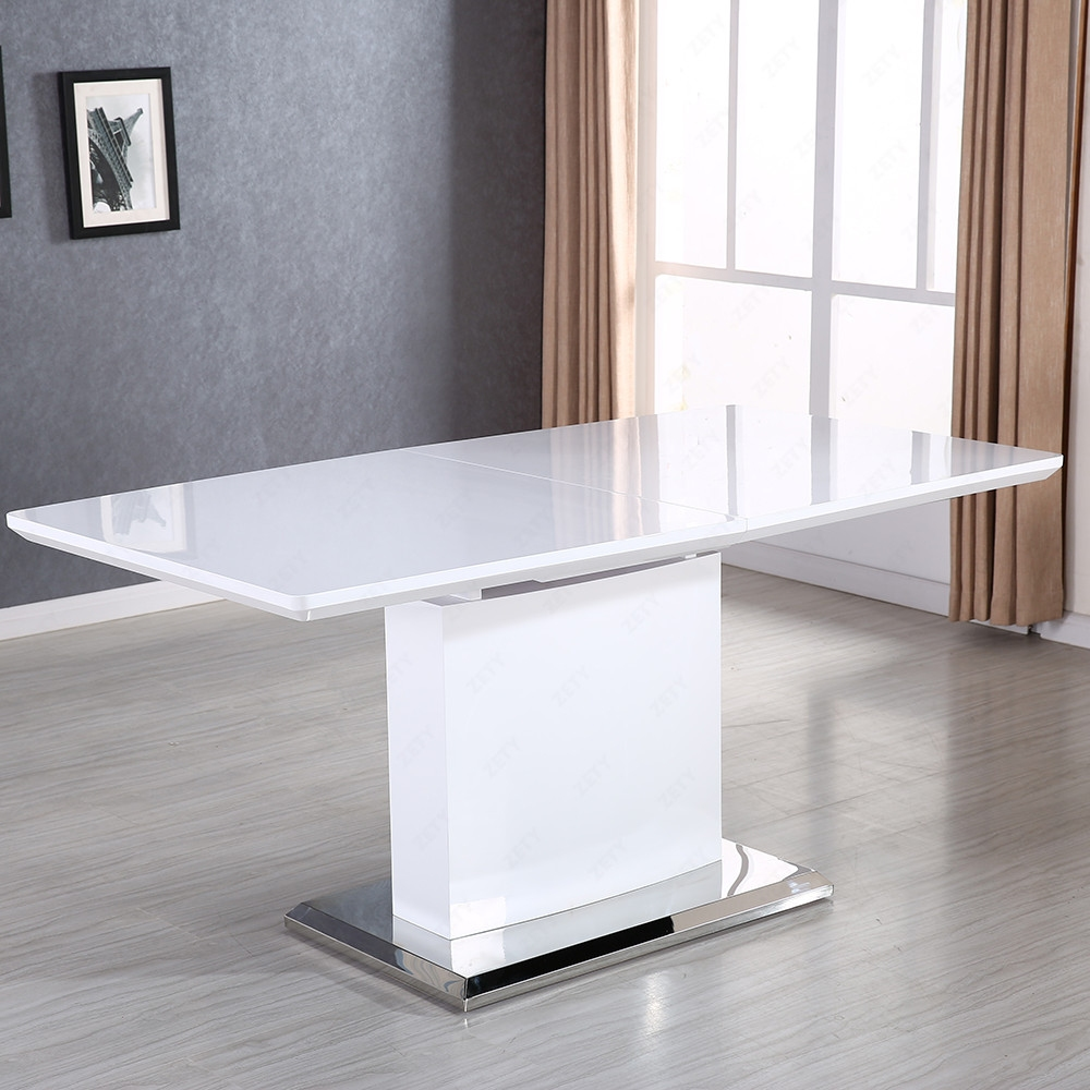 Modern High Gloss White MDF Extendable Dining Table W Stainless Pedestal EBay