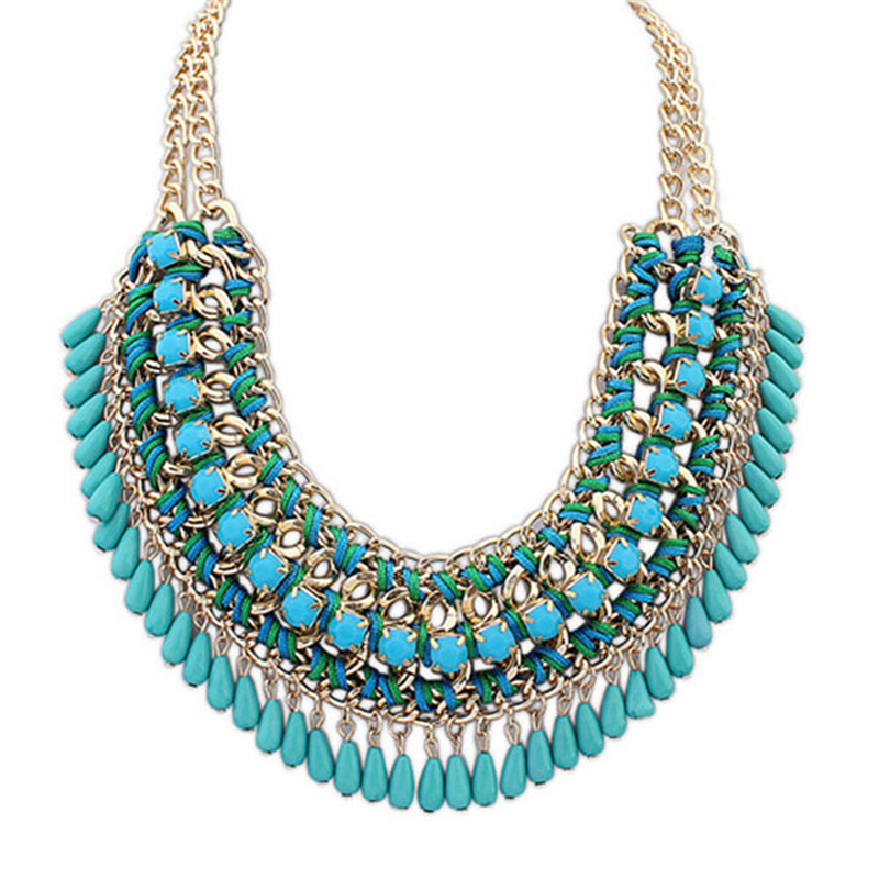 Latest Women Grace Pendant Chain Crystal Choker Chunky Statement Bib Necklace