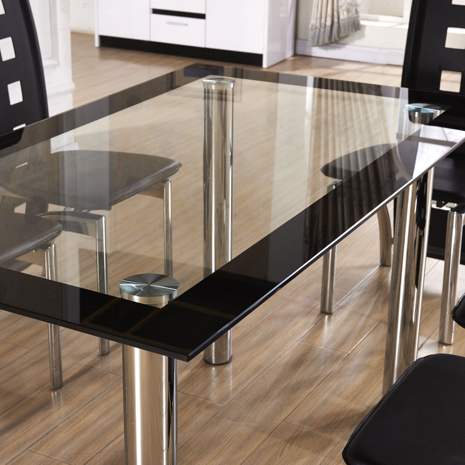 New Design Clear Black Glass Dining Table Set Dining Room EBay
