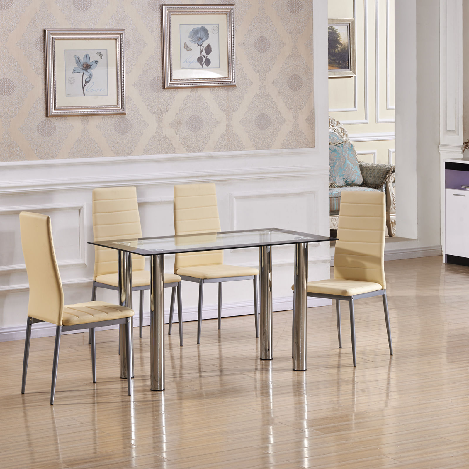 clear glass dining table set with 4 milky white faux
