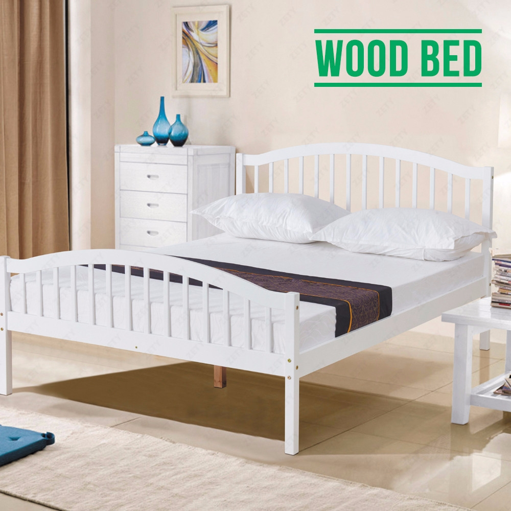 4ft6 white solid pine wood double bed frame natural pine bedroom furniture ebay. Black Bedroom Furniture Sets. Home Design Ideas