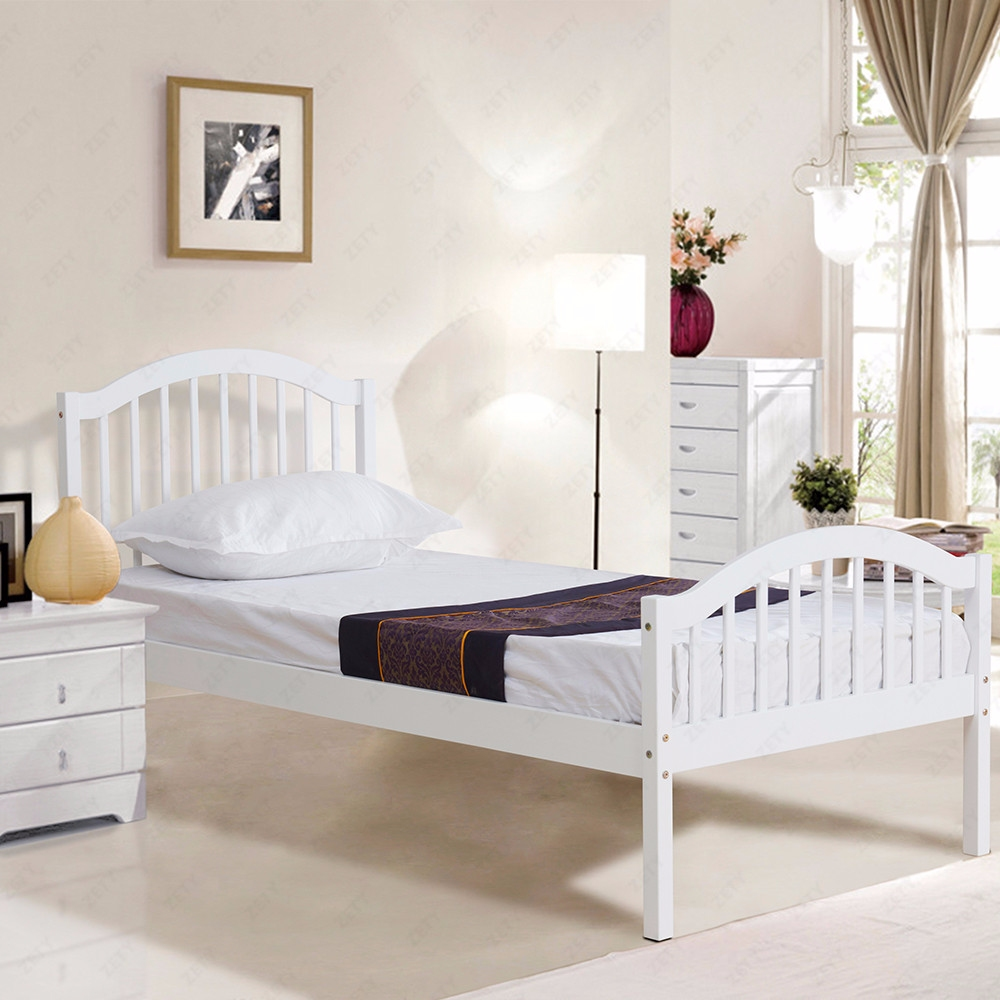3FT White Solid Pine Wood Single Bed Frame Natural Pine Bedroom Furniture