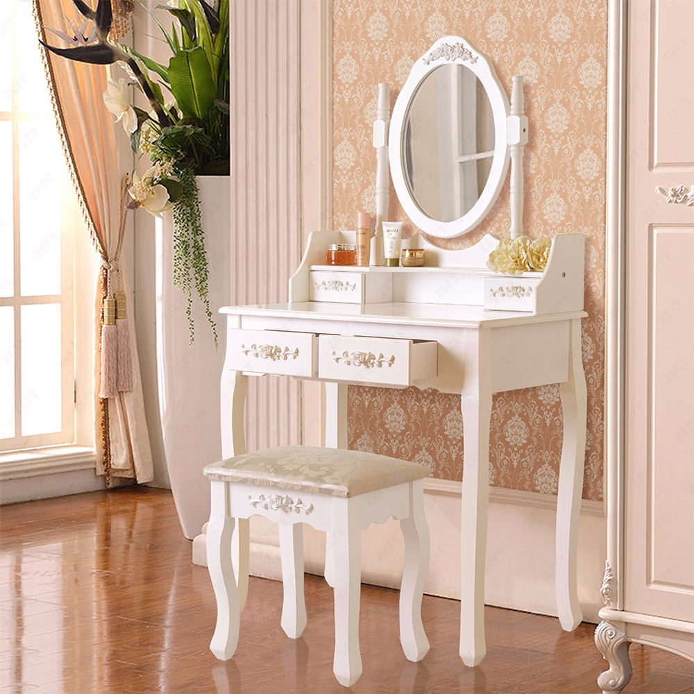 white dressing table makeup desk with 4 drawers stool set. Black Bedroom Furniture Sets. Home Design Ideas