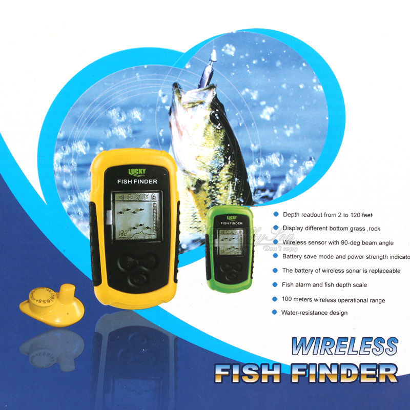 Lucky portable wireless fish finder alarm 40m 130ft depth for Ebay fish finders