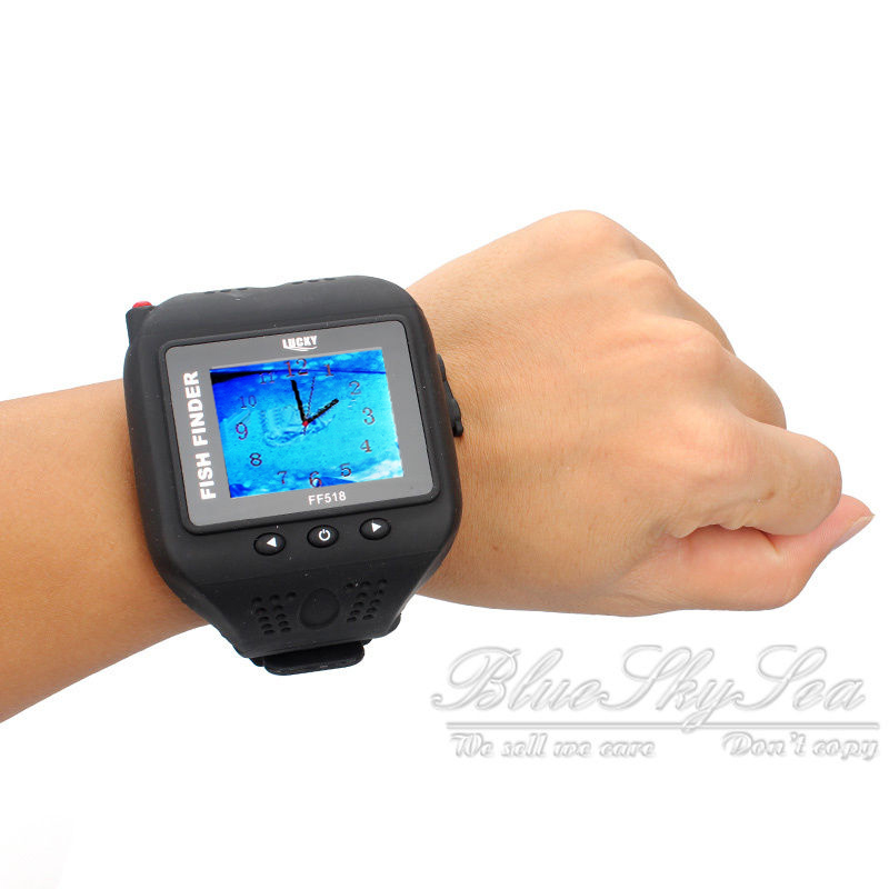 Wrist watch fish finder wireless sonar sensor 150ft depth for Wifi fish finder