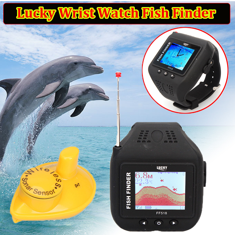 Wrist watch fish finder wireless sonar sensor 150ft depth for Fish finder depth finder