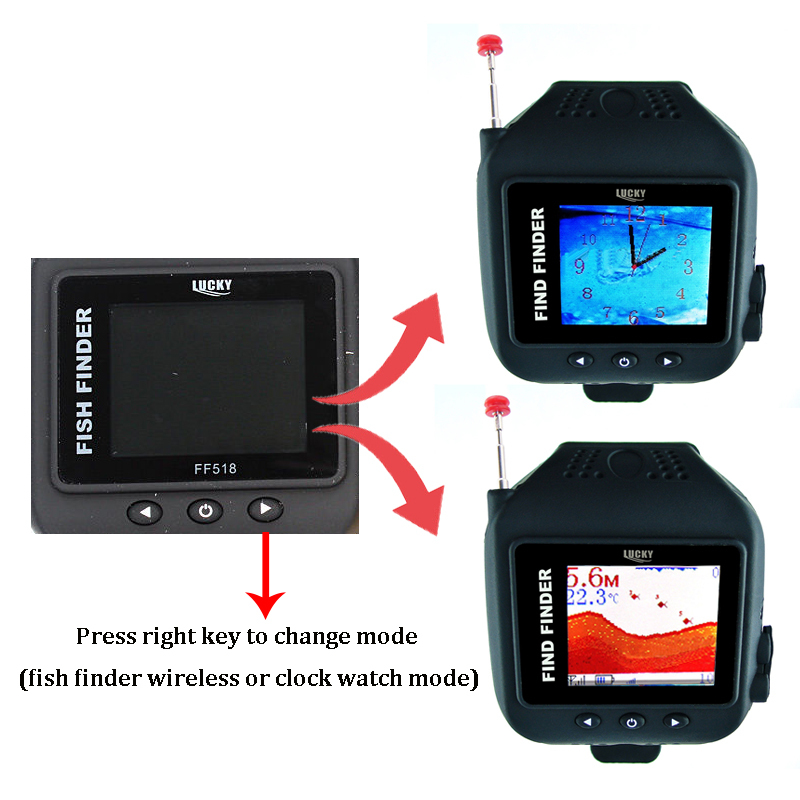 Wrist watch fish finder wireless sonar sensor 45m depth for How does a fish finder work