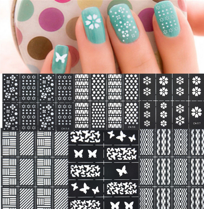 reusable stamping tool nail art template stickers stamp stencil guide vinyls ebay. Black Bedroom Furniture Sets. Home Design Ideas