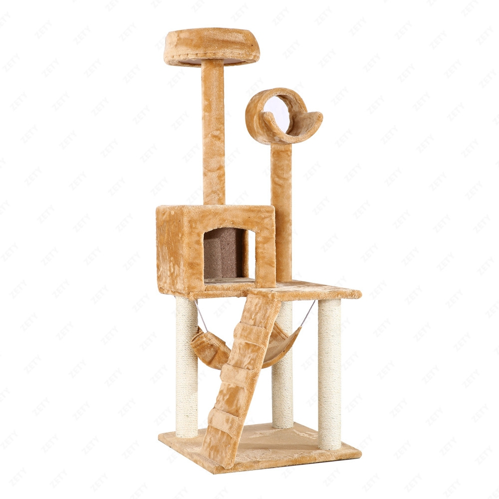 Deluxe beige 52 cat tree tower scratcher furniture for Cat tower with hammock