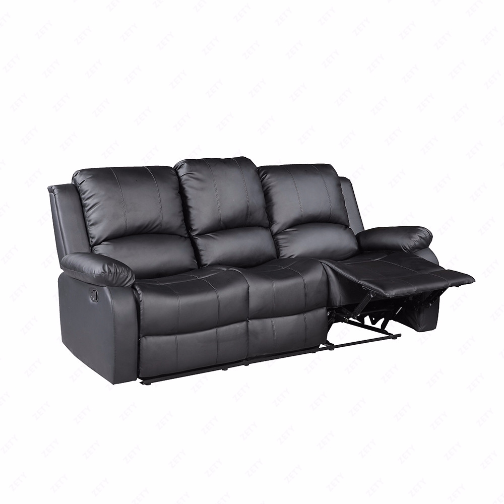 Black 3 set sofa loveseat chaise couch recliner leather for Black chaise lounge sofa