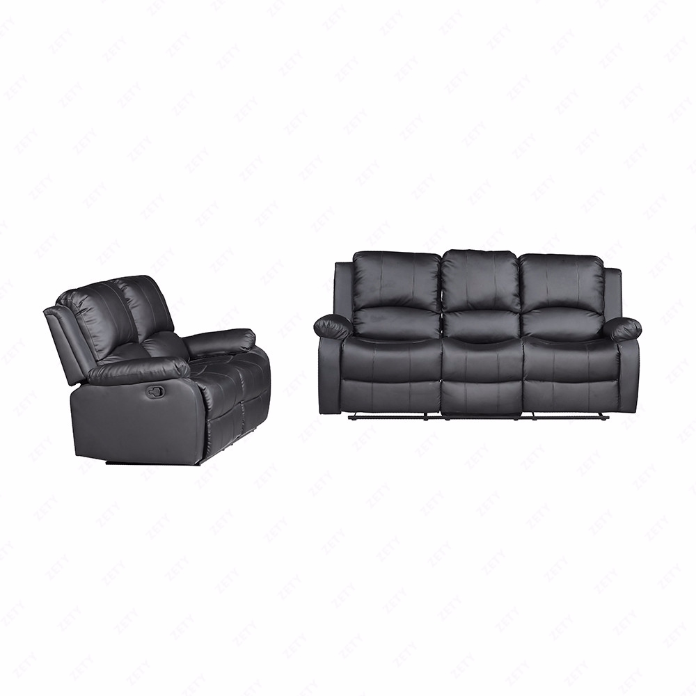 Black 3 set sofa loveseat chaise couch recliner leather for Black leather chaise lounge sofa