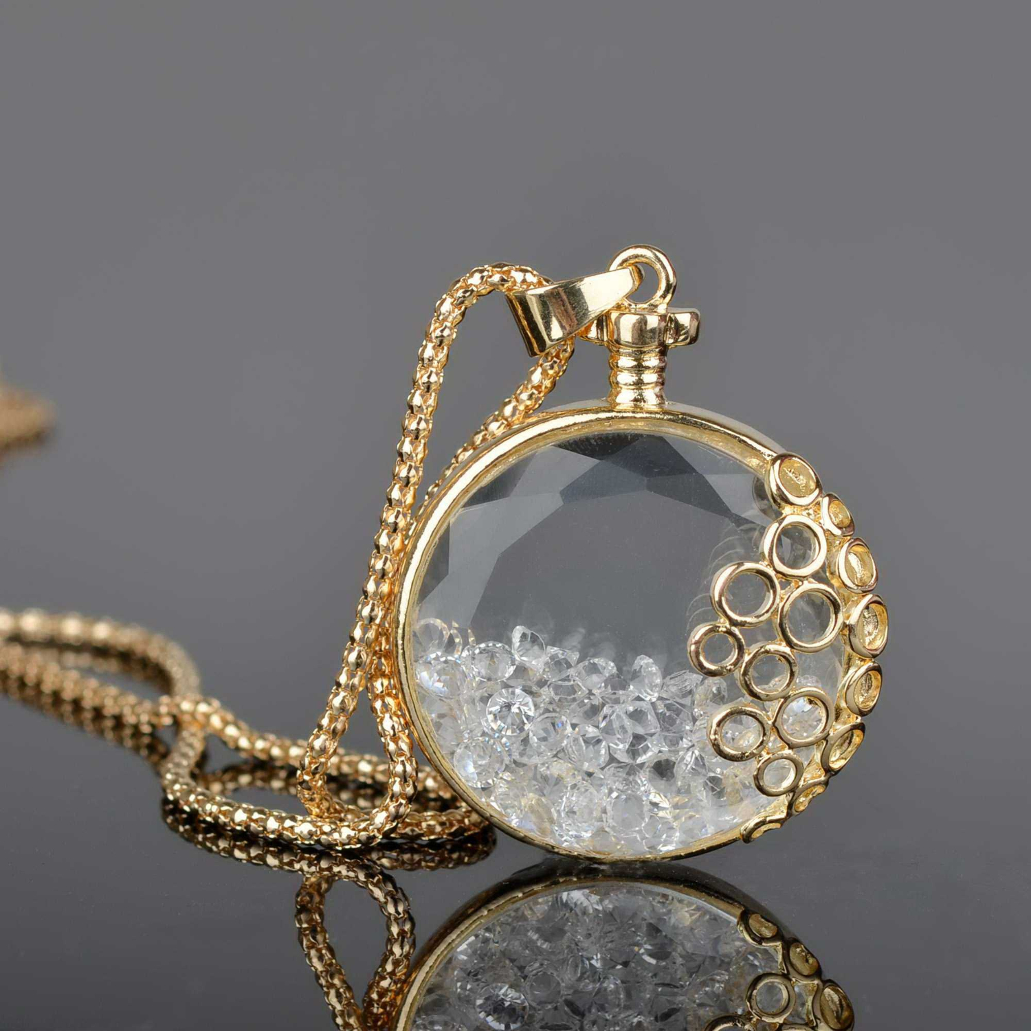 Living Memory Floating Round Drop Crystal Rhinestone Long Chain Pendant Necklace
