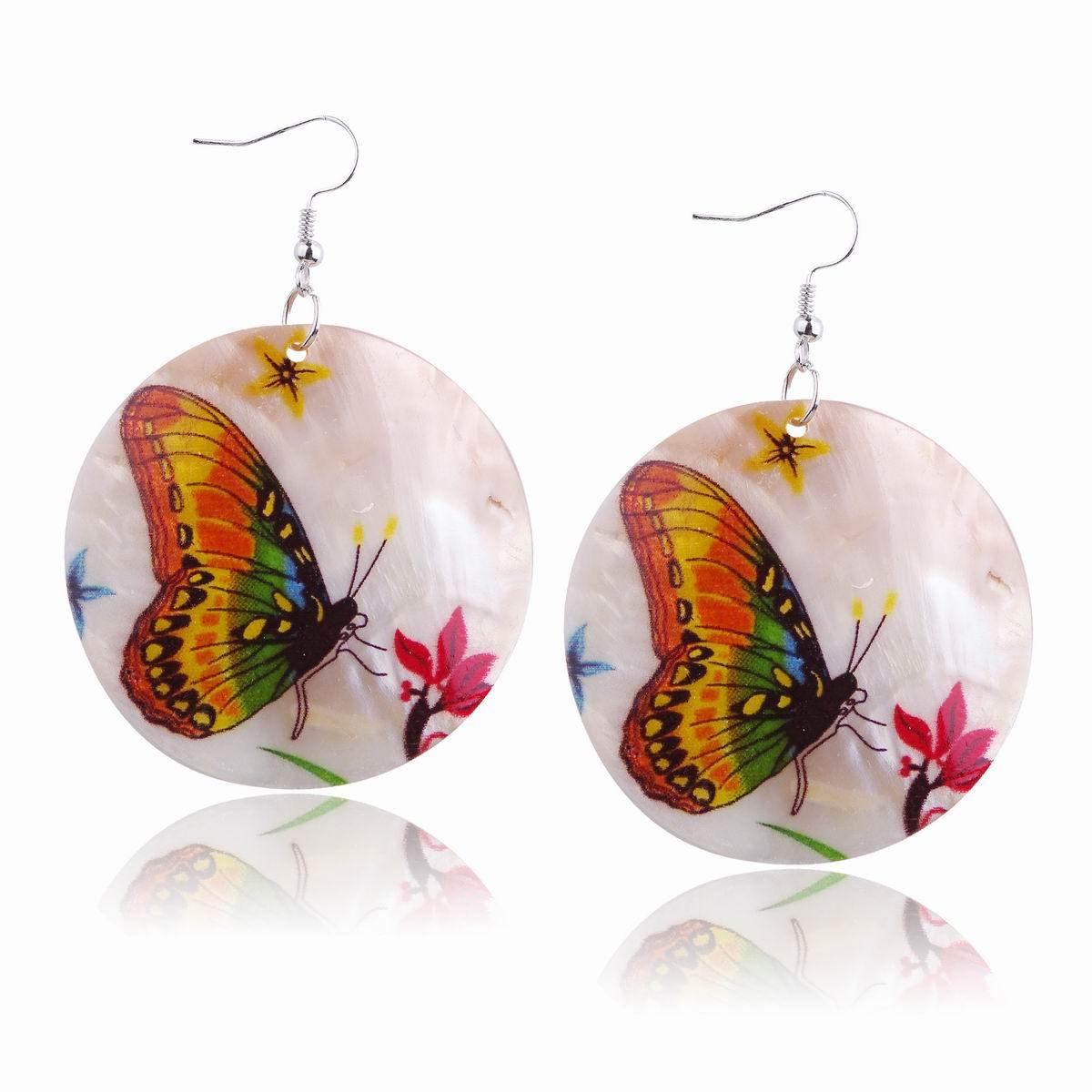 Colorful Beach Butterfly Flower Dangle Leopard Round Shell Hook Earrings