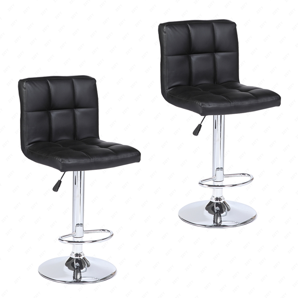 Set Of 2 Modern Design Bar Stools Swivel Leather