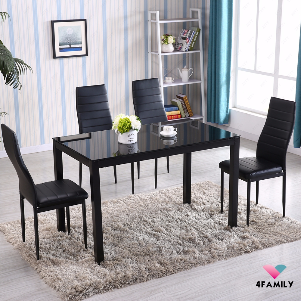 5 piece glass metal dining table set 4 chairs kitchen room