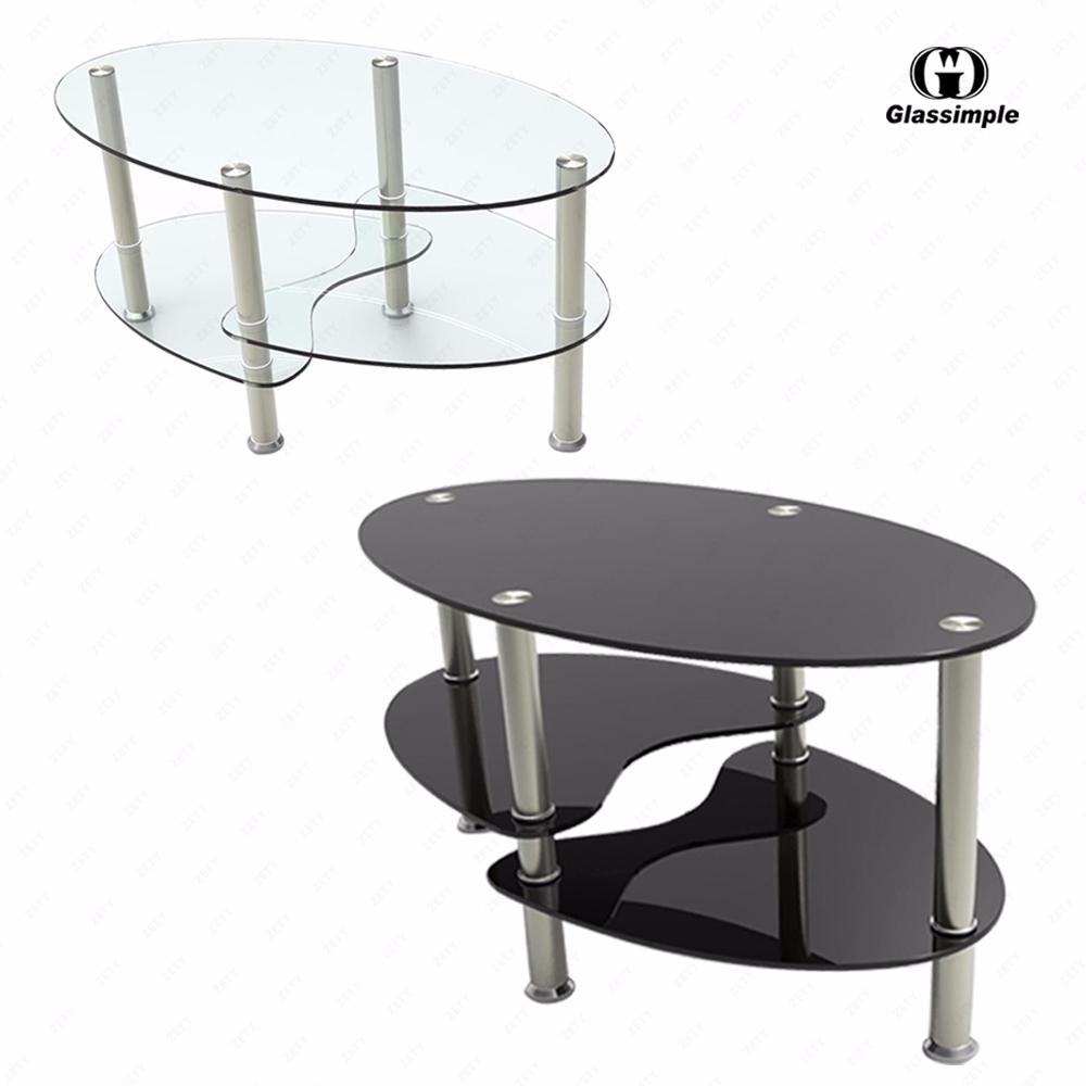 Black/Clear Glass Oval Side Coffee Table Shelf Chrome Base
