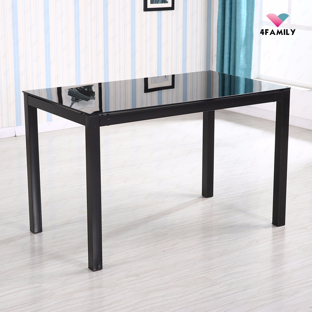 5 Piece Glass Metal Dining Table Set 4 Chairs Kitchen Room Breakfast Furnitur