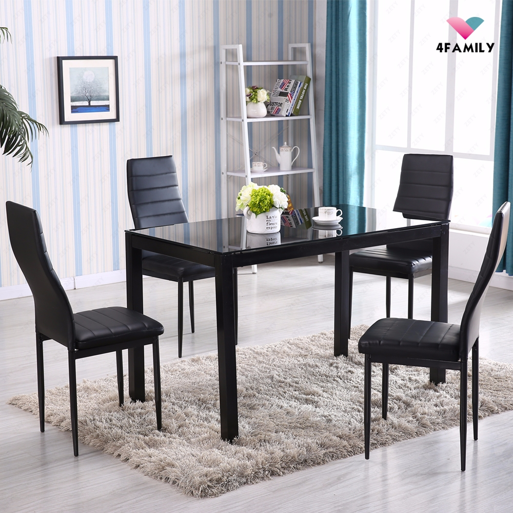 5 Piece Glass Metal Dining Table Set 4 Chairs Kitchen Room ...