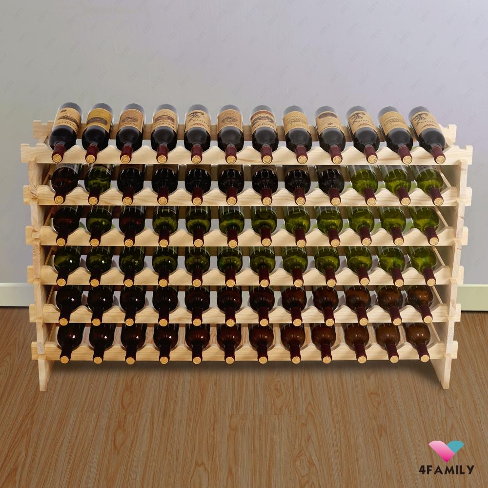 wine rack 72 bottles stackable storage 6 tier solid wood. Black Bedroom Furniture Sets. Home Design Ideas