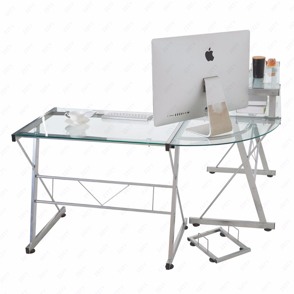 clear l shape computer desk pc glass laptop corner table workstation home office ebay. Black Bedroom Furniture Sets. Home Design Ideas