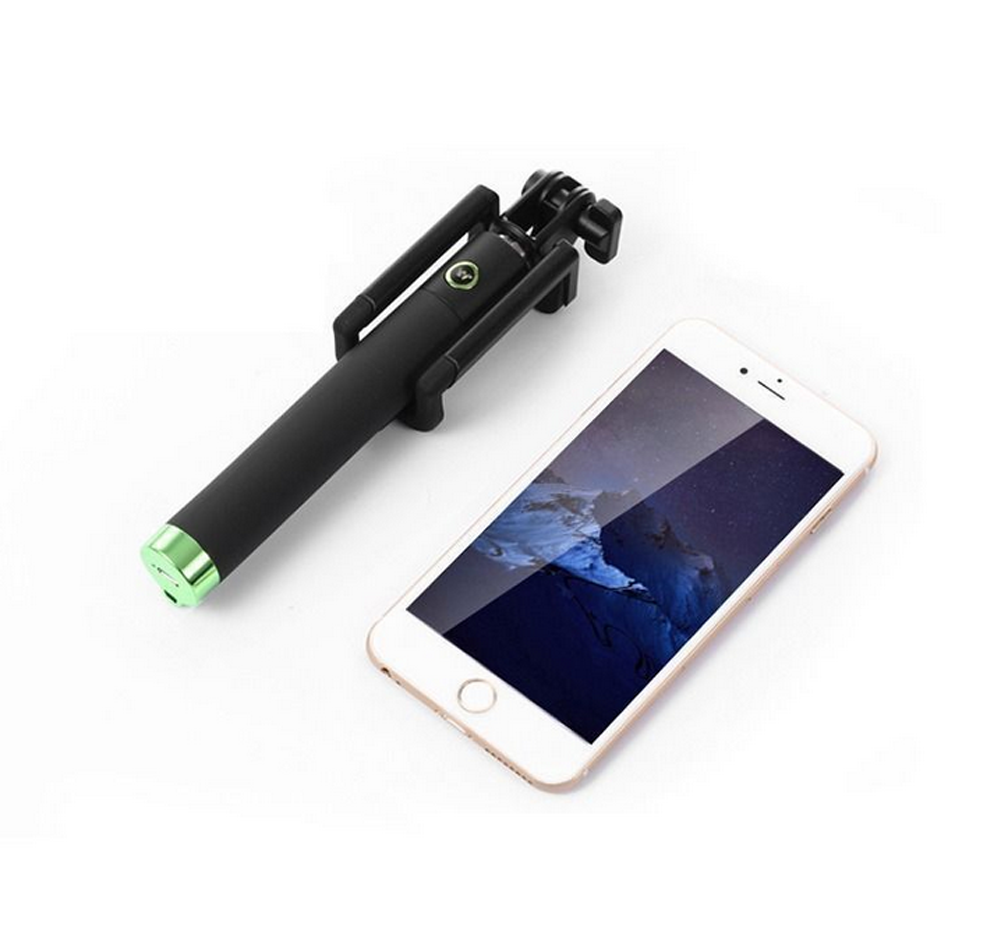 mini monopod selfie stick wired remote foldable holder for iphone samsung mobile. Black Bedroom Furniture Sets. Home Design Ideas