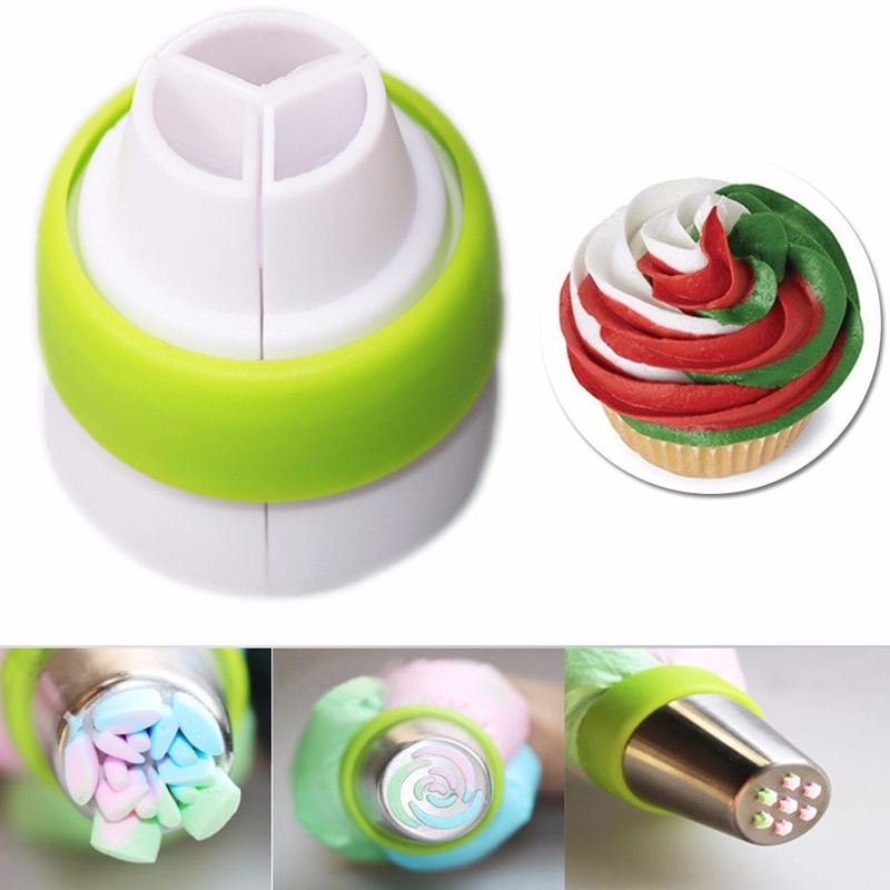 Cake Decorating Tips And Couplers : 3-Color Icing Piping Bag Russian Nozzle Tips Adapter ...