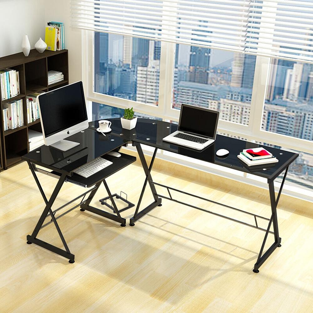 black corner l shape computer desk pc glass laptop table workstation home office black home office laptop