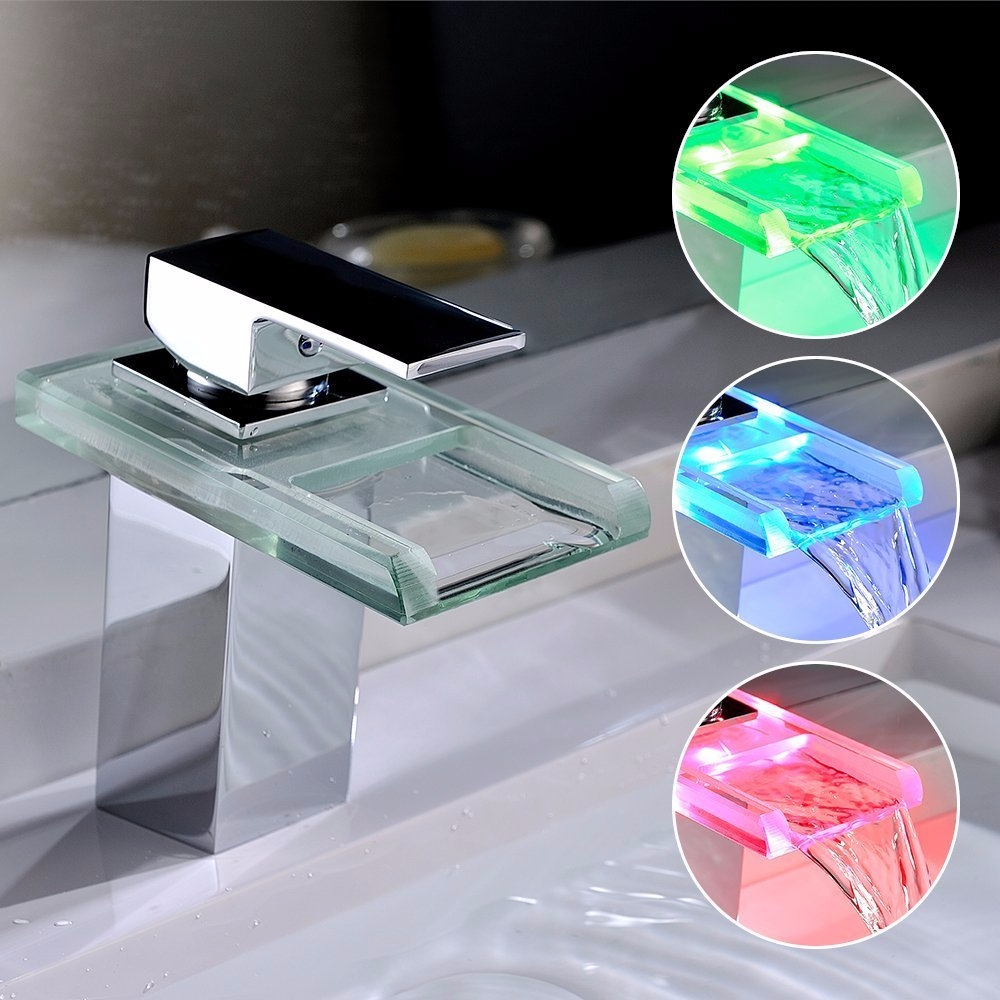led rgb sp ltisch wasserfall wasserhahn armatur design mischbatterie k che glas ebay. Black Bedroom Furniture Sets. Home Design Ideas
