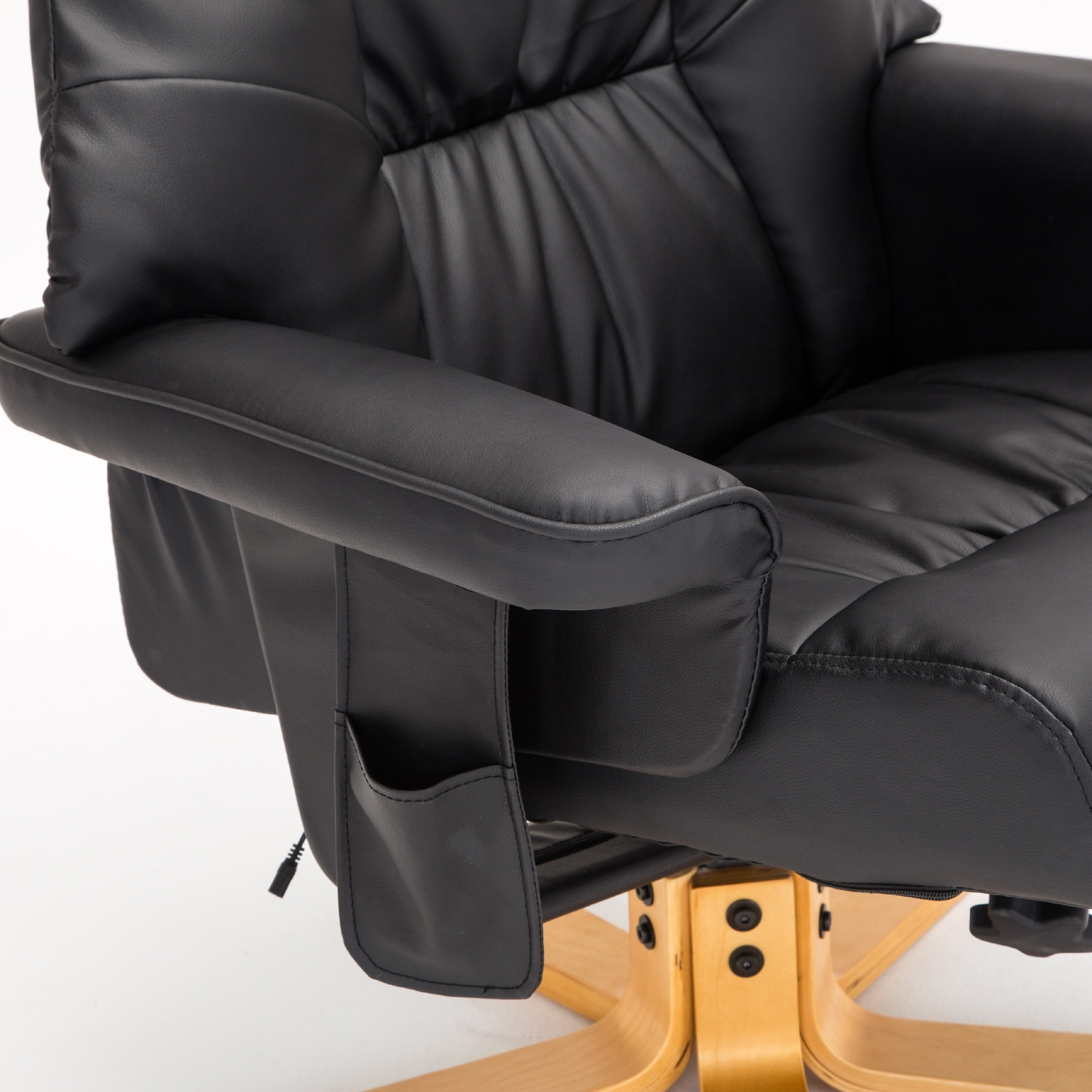 Black massage recliner chair leather with foot stool swivel armchair office ebay - Swivel feet for chairs ...